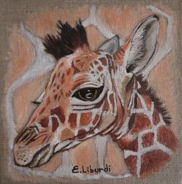 Giraffa olio su tela 20x20